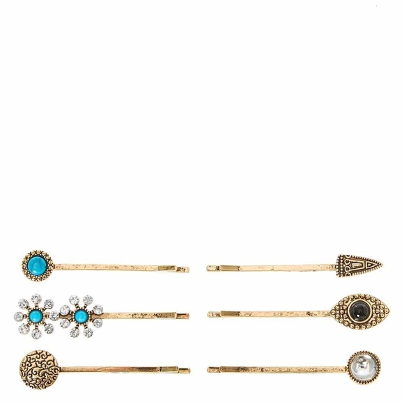 3/$20 NEW Gold Stone & Charm Bobby Pins 6 Pack